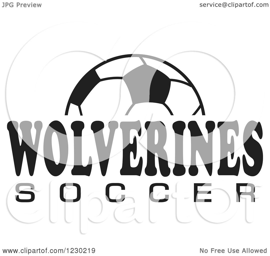 Clipart of a Black and White Ball and WOLVERINES SOCCER ...