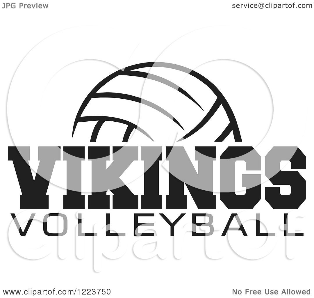 Clipart Of A Black And White Ball With Vikings Volleyball