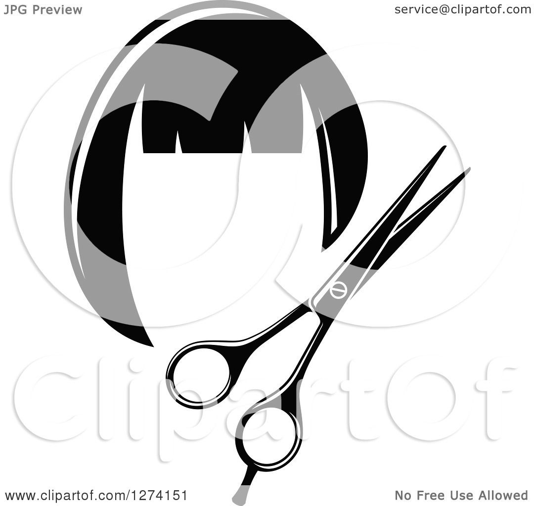 Clipart of a Black and White Barber Scissors and Wig - Royalty Free    Wig Clip Art Black And White