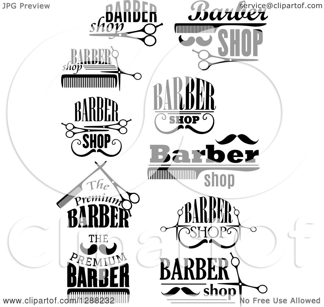 Clipart Of A Black And White Barber Shop Designs 3