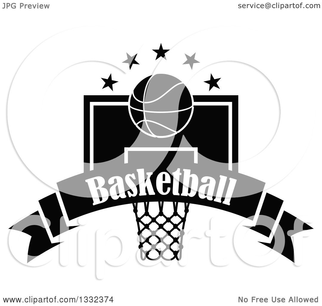 Clipart of a Black and White Basketball and Stars over a ...