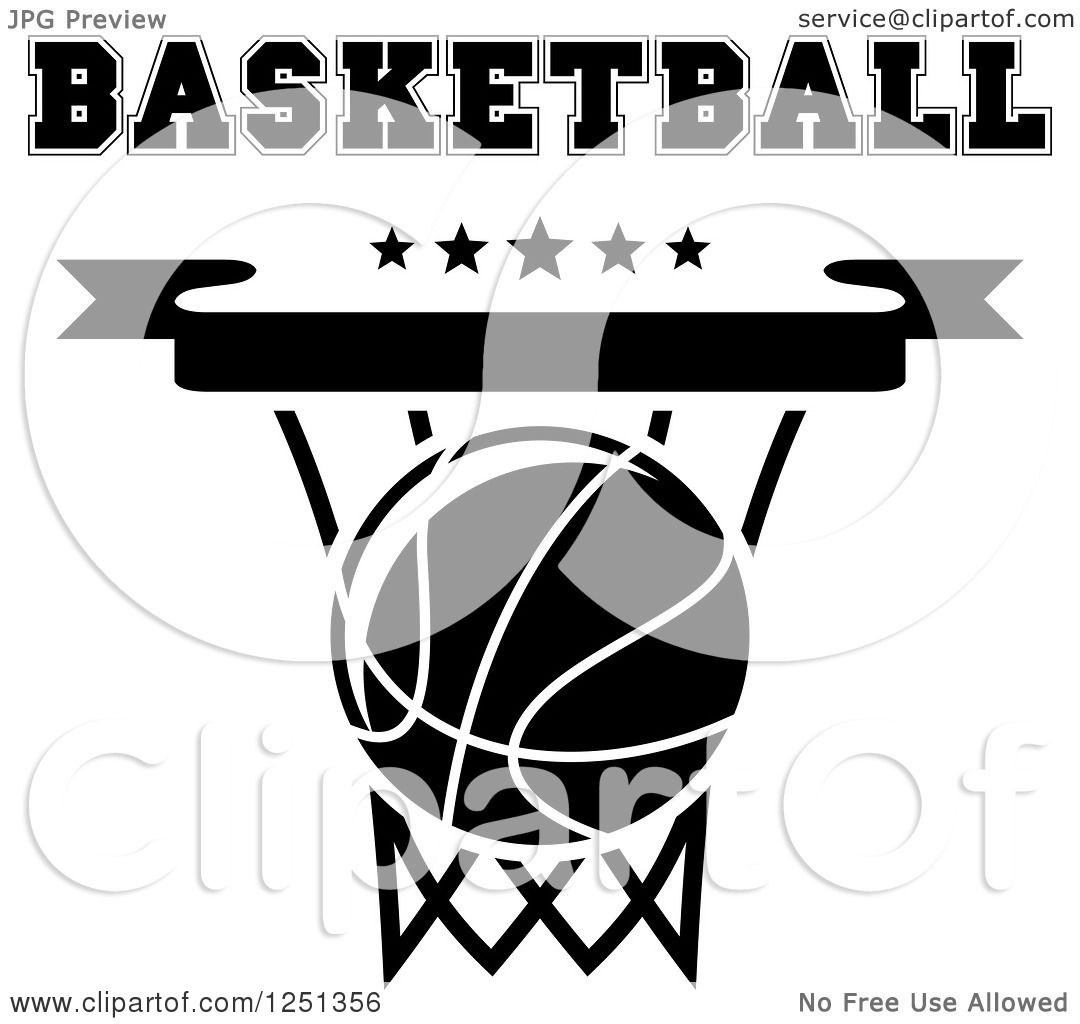 Clipart of a Black and White Basketball in a Hoop with ...