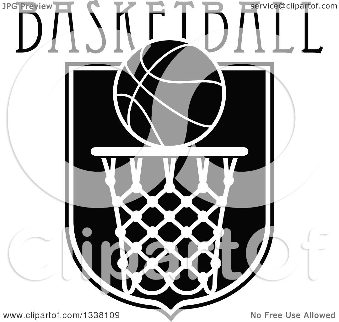 Clipart of a Black and White Basketball over a Hoop and ...