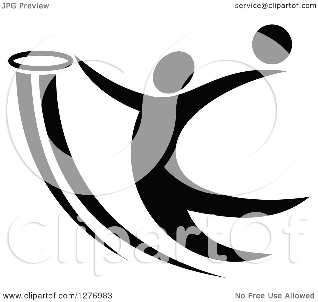 Clipart of a Black and White Basketball Player Dunking