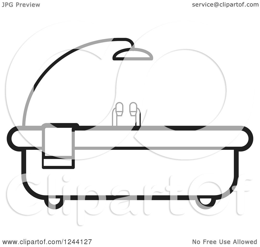 Bathroom Clip Art Black And White: Clipart Of A Black And White Bath Tub With Shower Above