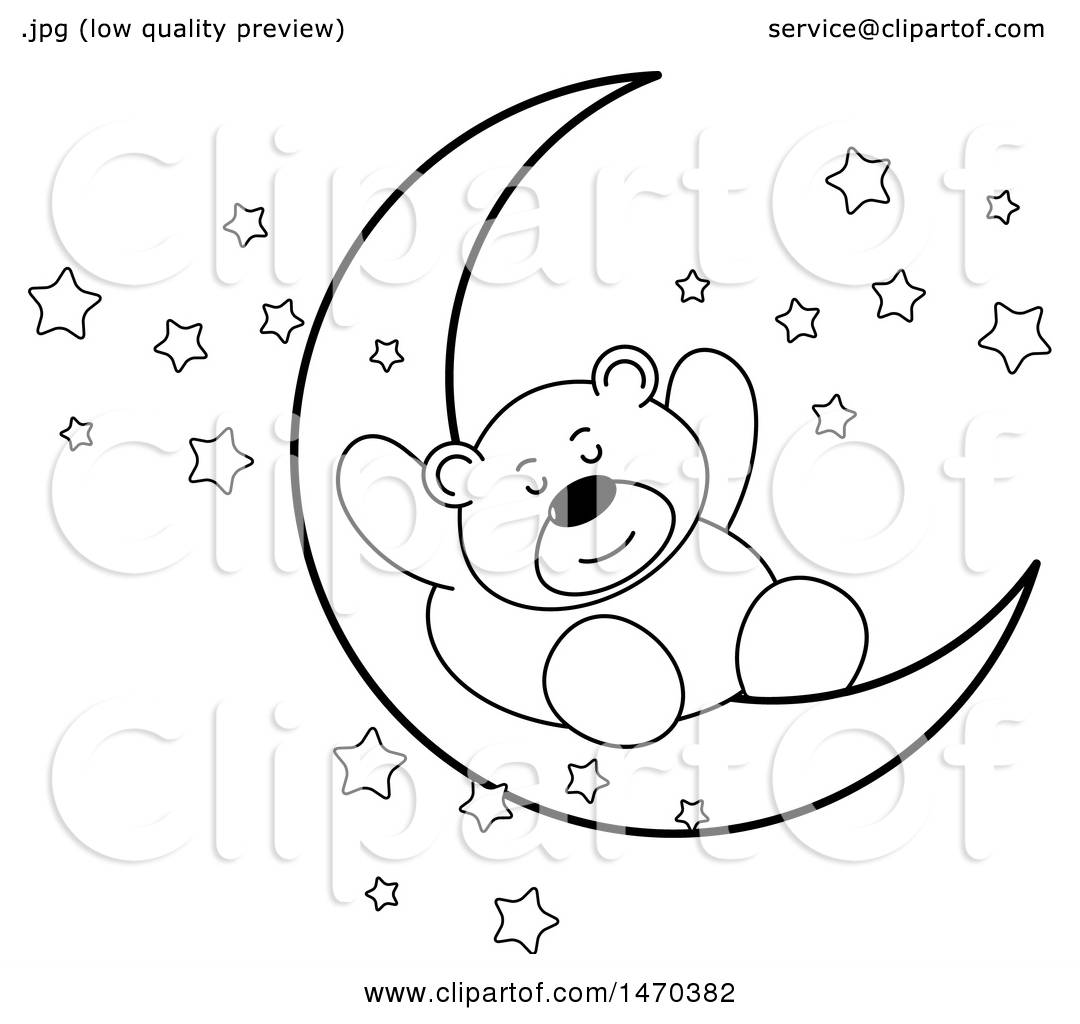 Black And White Baby Sleeping: Clipart Of A Black And White Bear Sleeping On A Crescent
