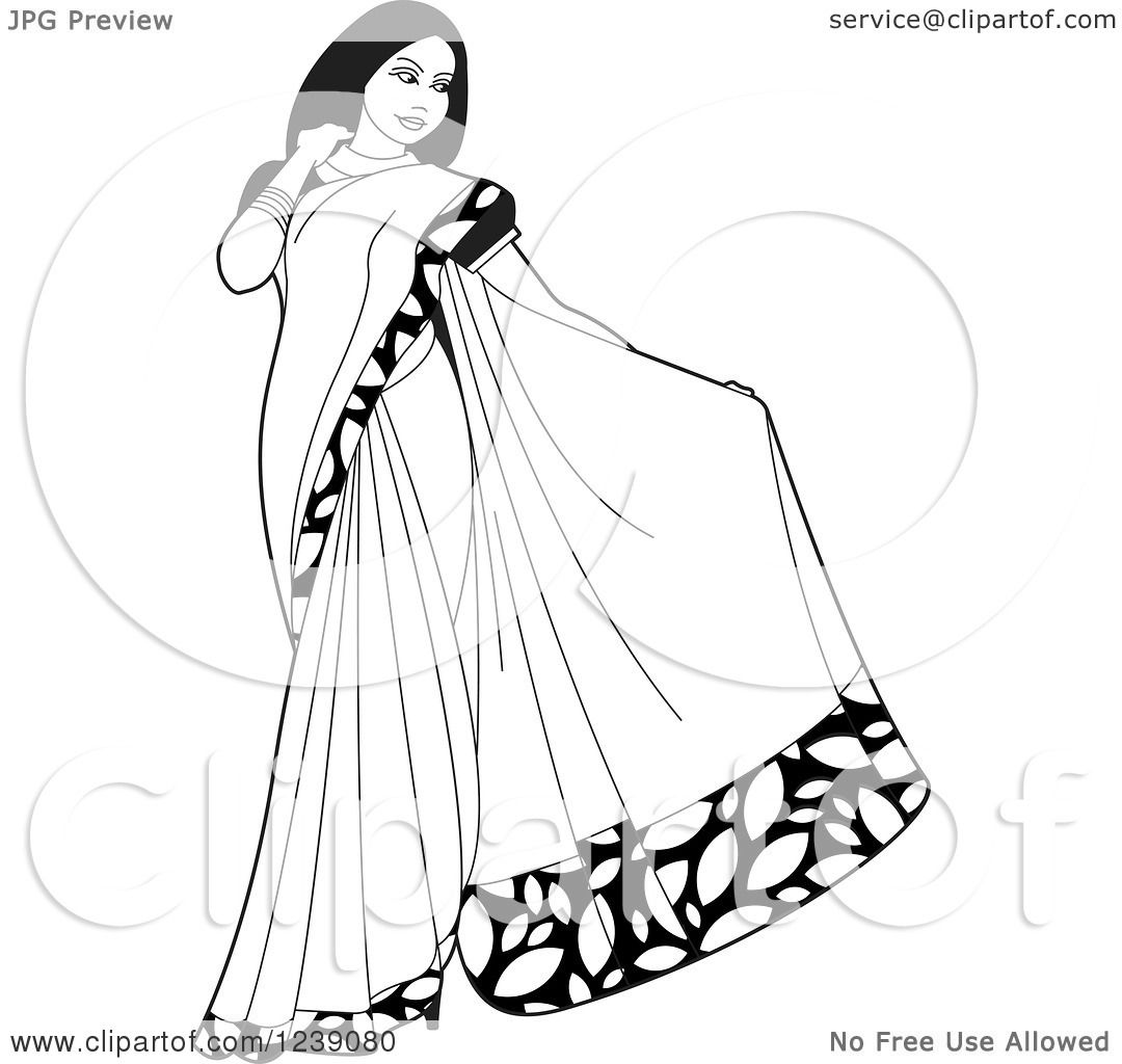 Clipart Of A Black And White Beautiful Indian Woman