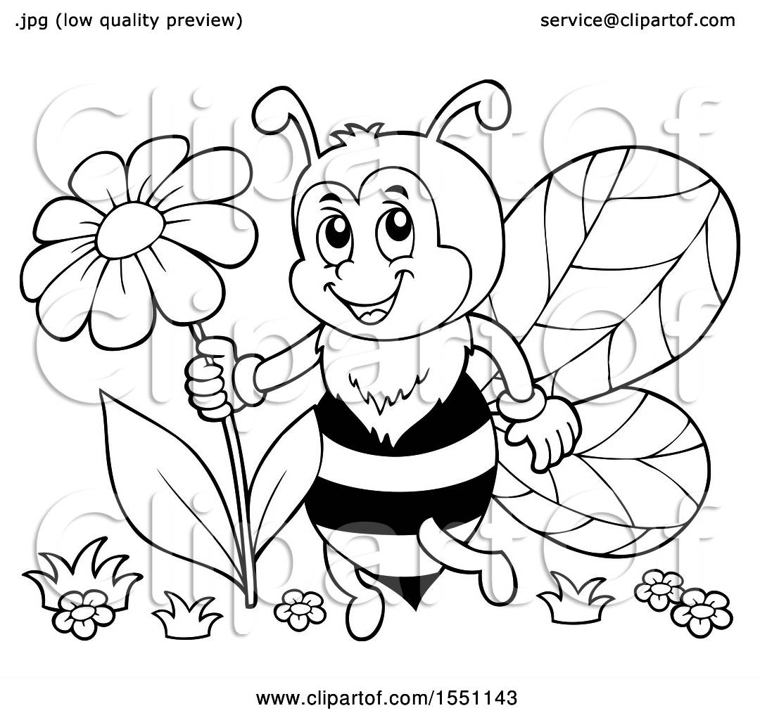 Clipart Of A Black And White Bee Holding A Flower Royalty Free