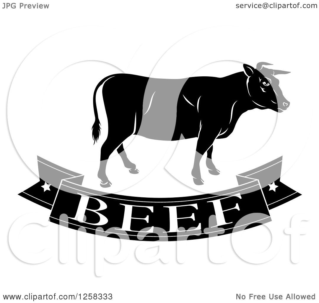 Cow Cart Clipart Clipart of a Black and White