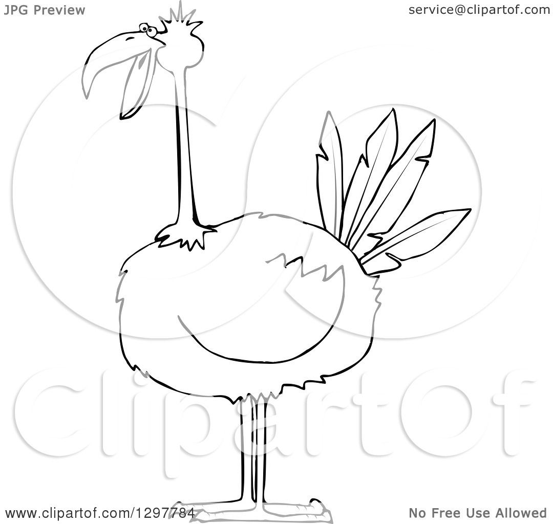 Clipart of a Black and White Big Bird - Royalty Free Vector ...