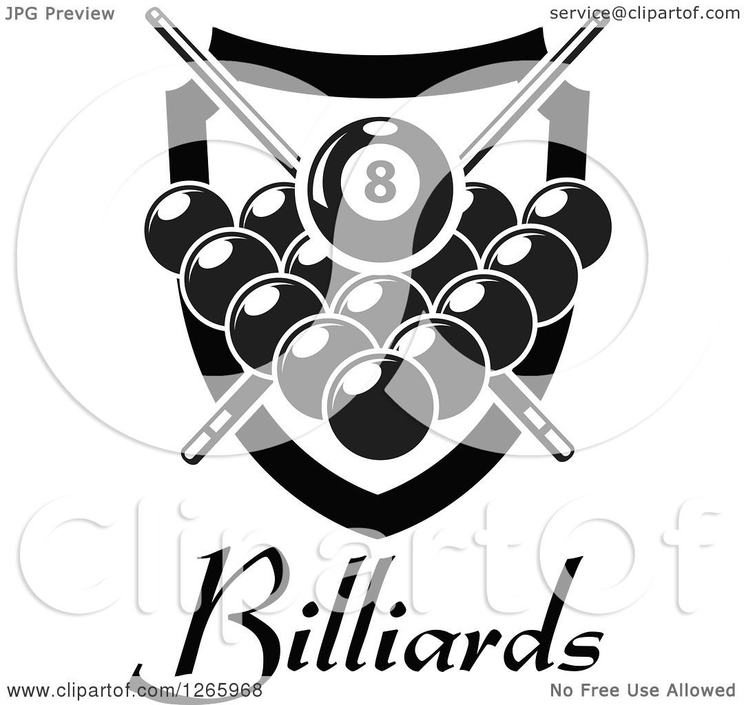 Clipart of a Black and White Billiards
