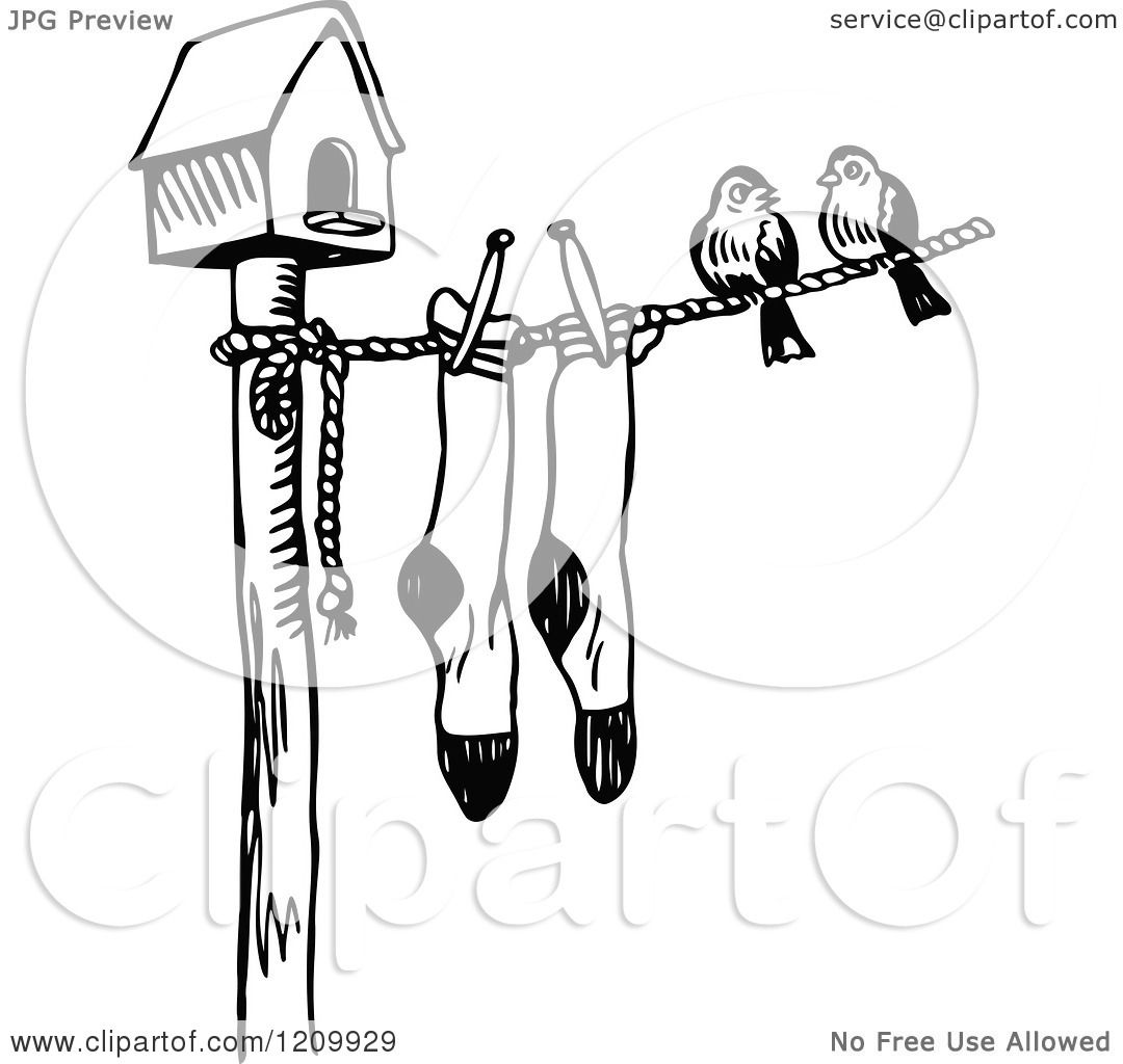 clipart of a black and white bird house with birds and socks on a