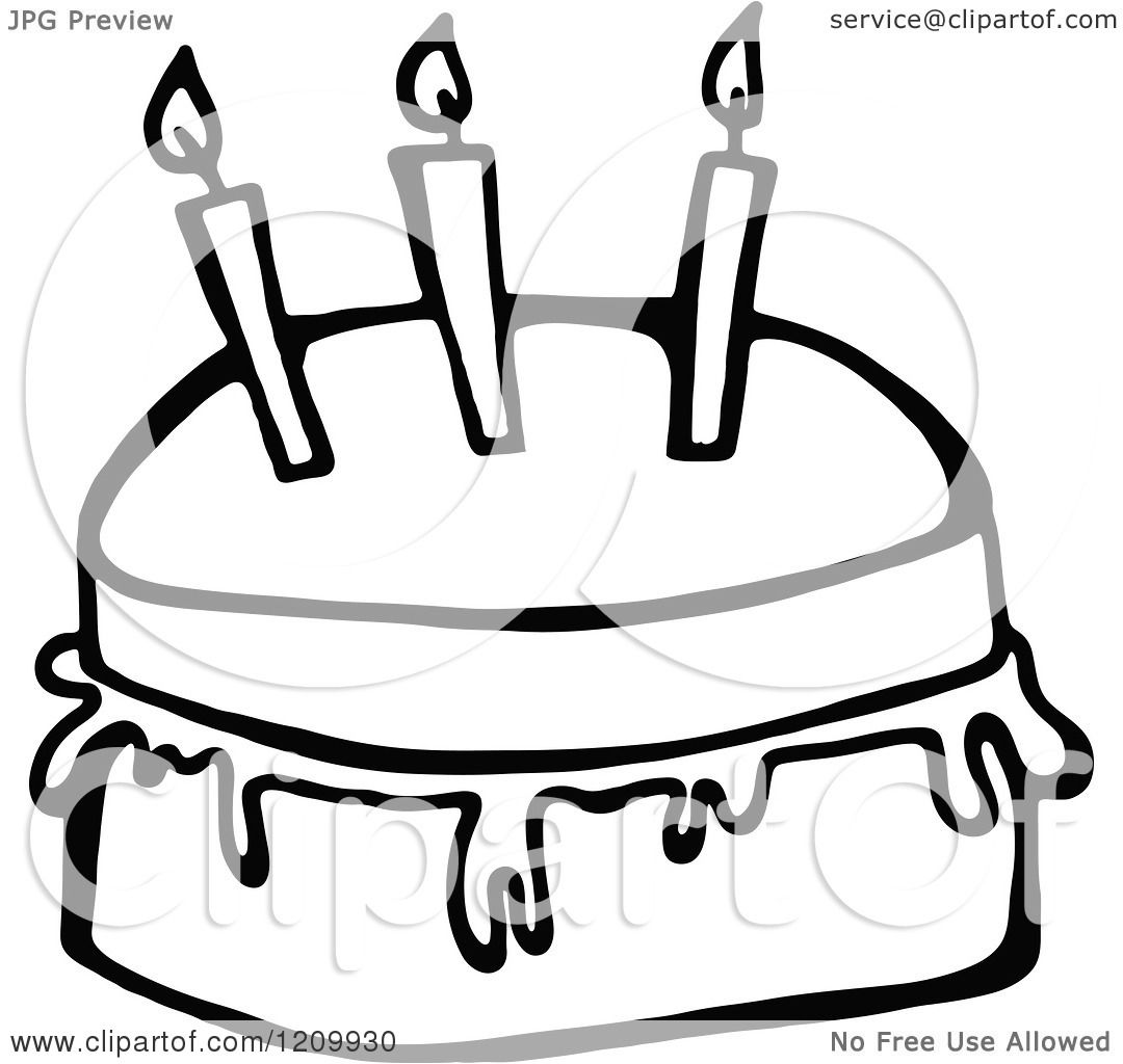 Clipart Of A Black And White Birthday Cake With Three Candles