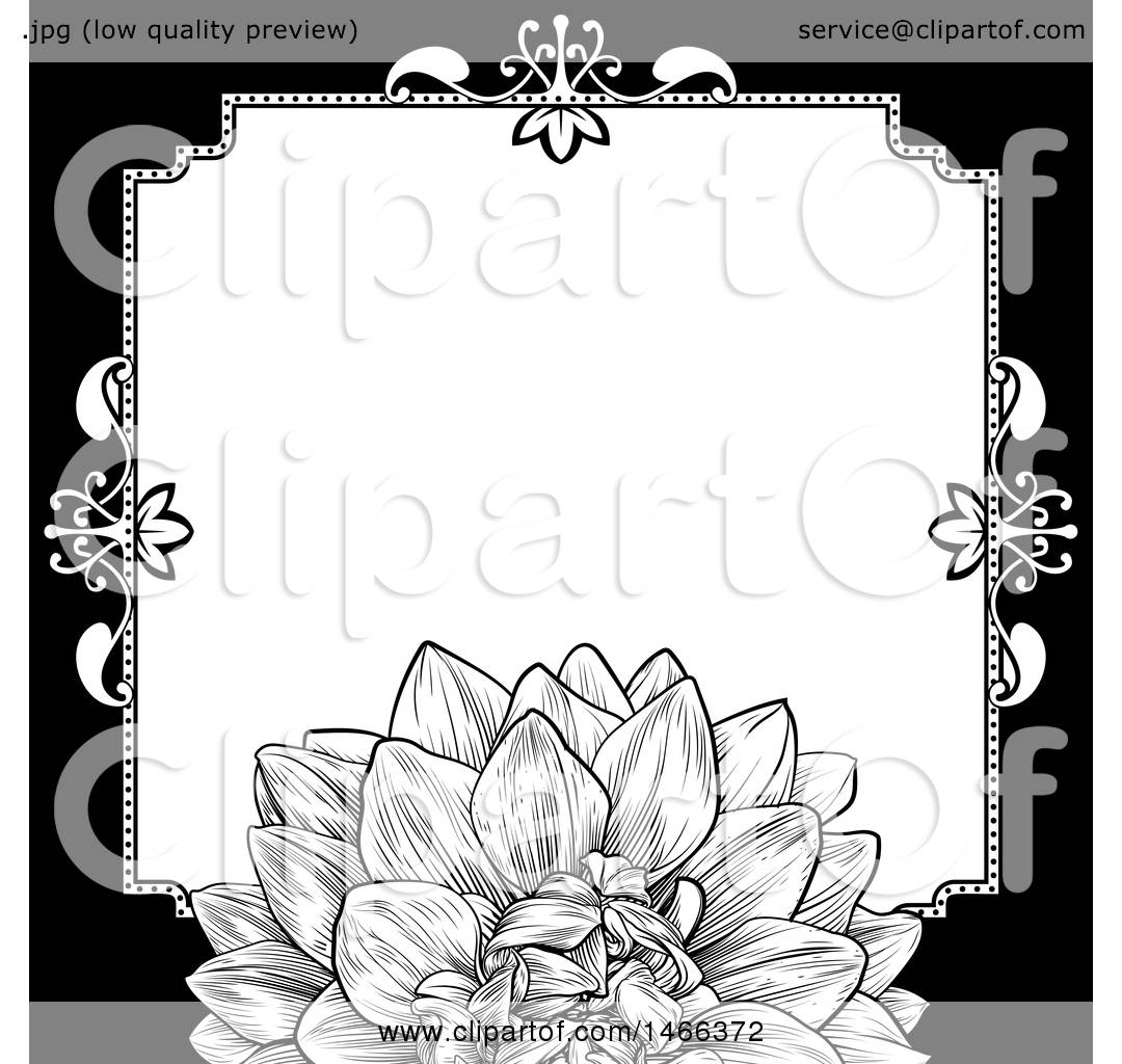 Clipart of a Black and White Border or Wedding Invitation with a ...