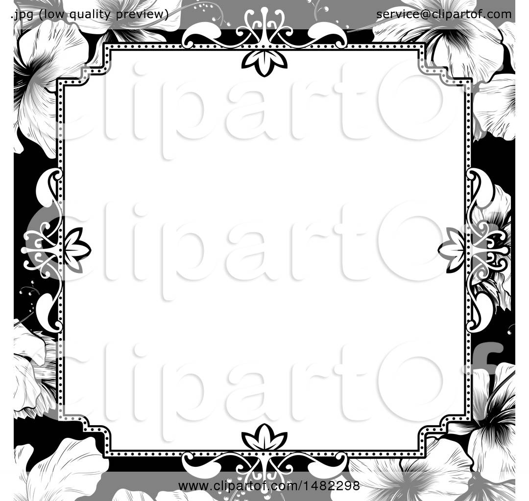 Clipart of a Black and White Border or Wedding Invitation with ...