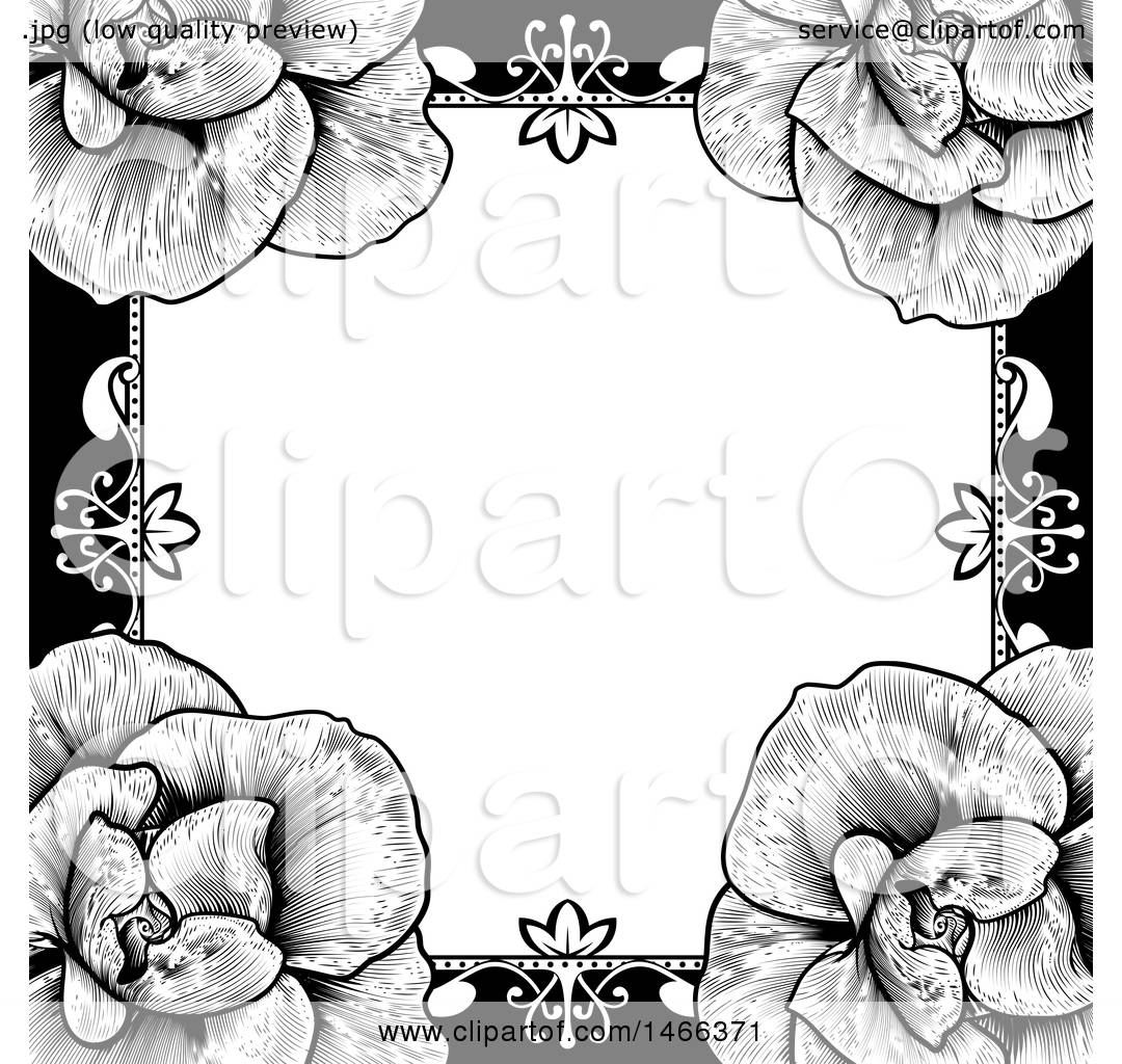 Clipart of a Black and White Border or Wedding Invitation ...