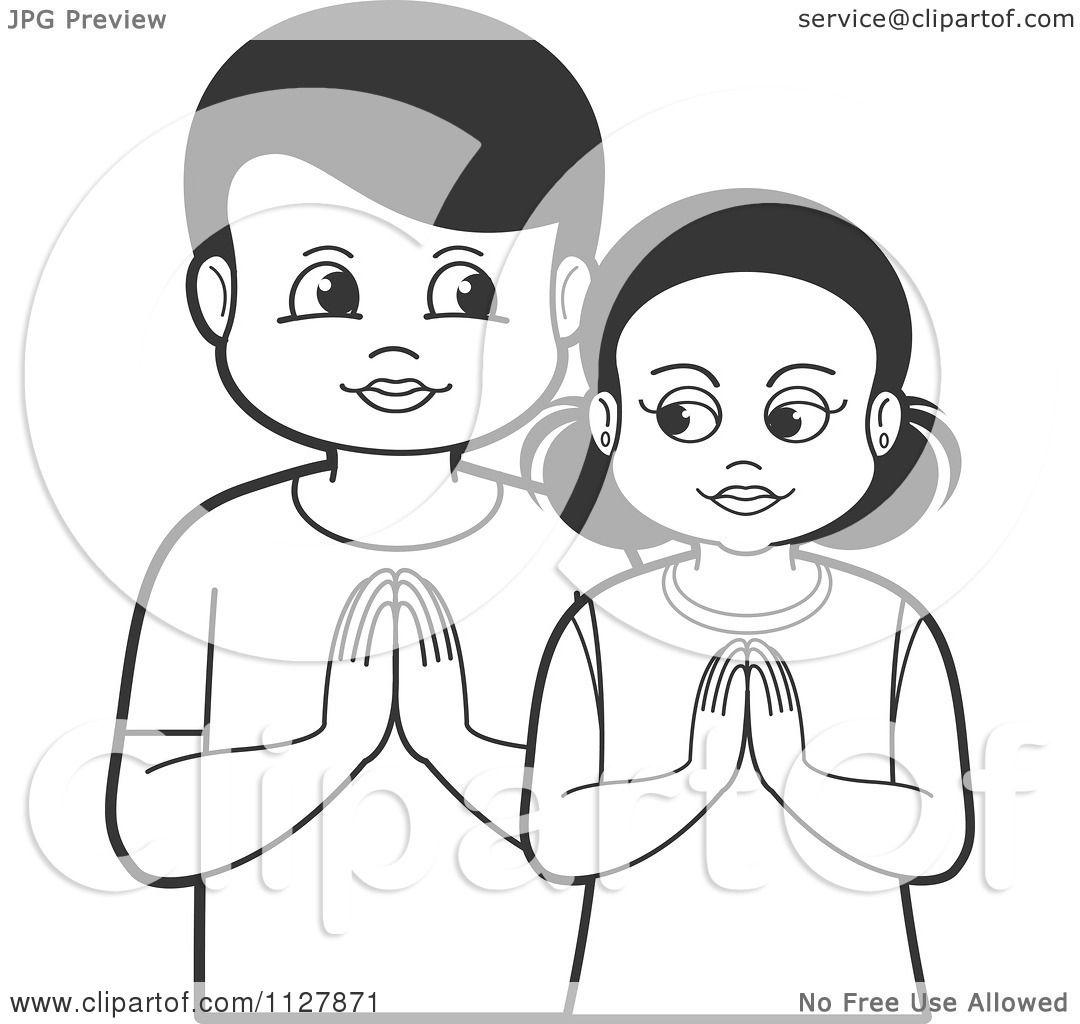 Clipart Of A Black And White Boy And Girl Praying -8795
