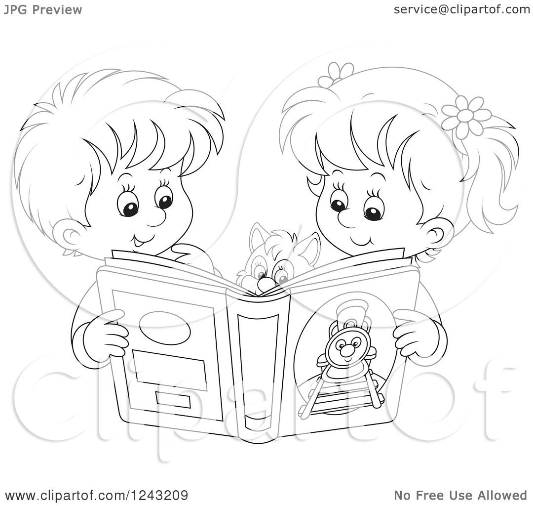 Clipart Of A Black And White Boy And Girl Reading A Story -5692