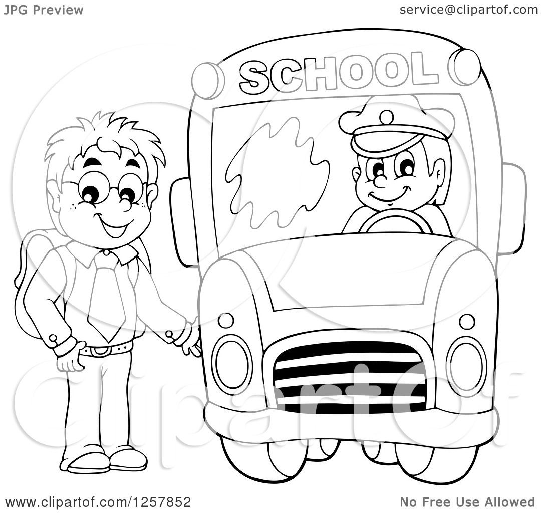 Clipart of a Black and White Boy Boarding a School Bus - Royalty ...