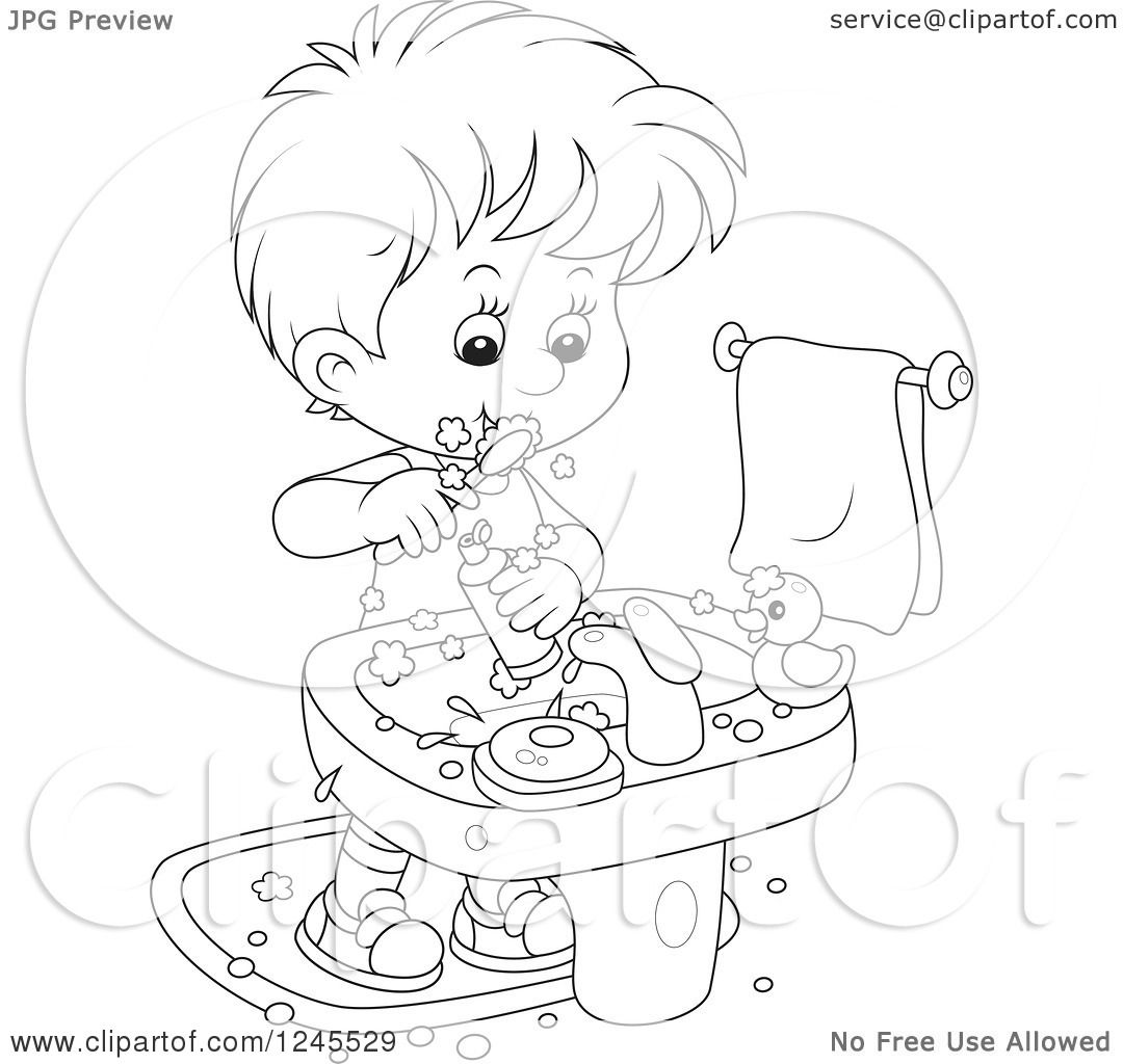 boy brushing teeth coloring pages - photo#11