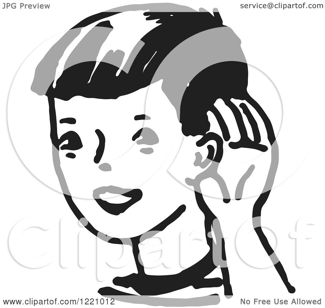 clipart of a black and white boy cupping his ear royalty. Black Bedroom Furniture Sets. Home Design Ideas