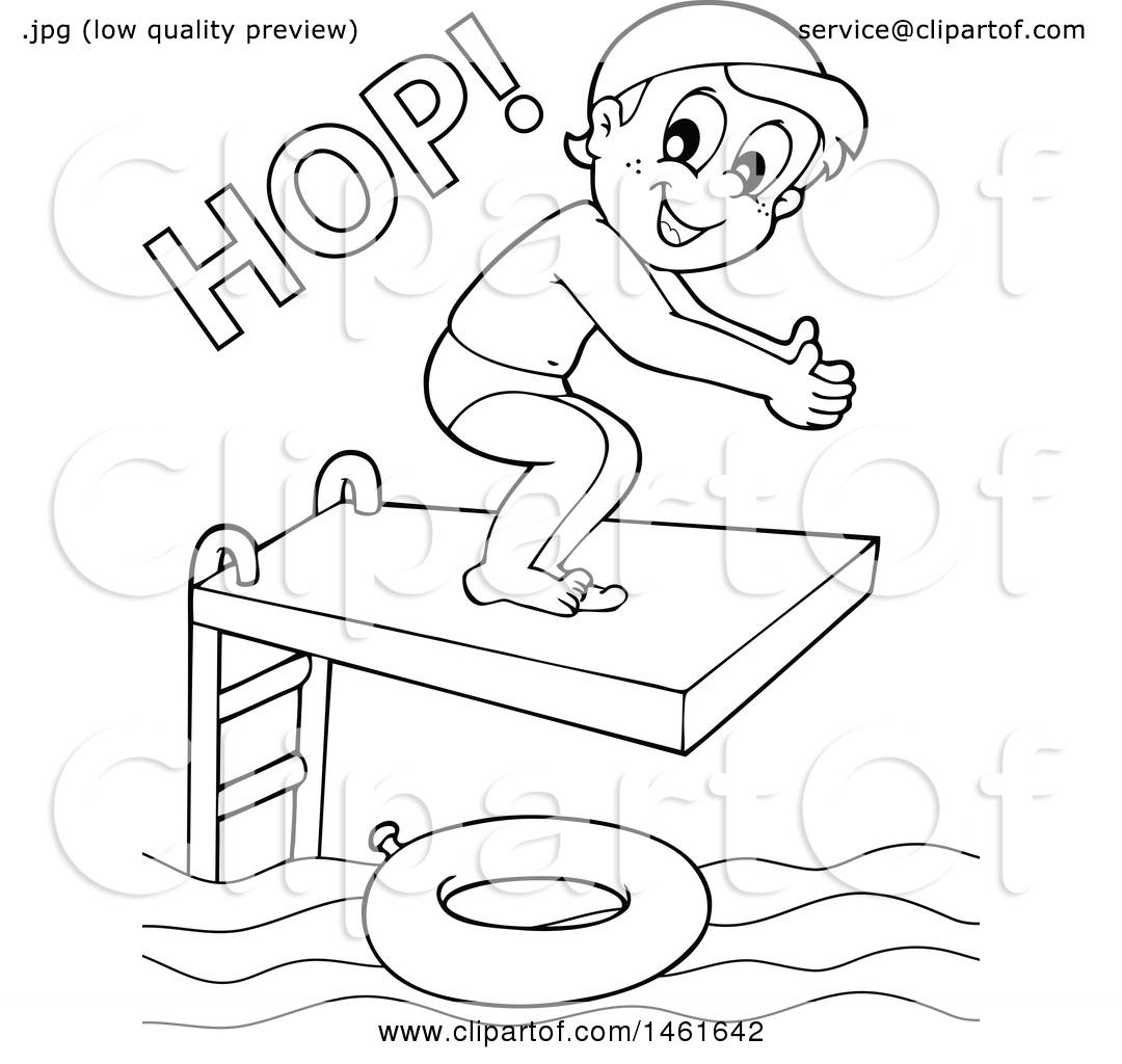 Diving clipart black and white