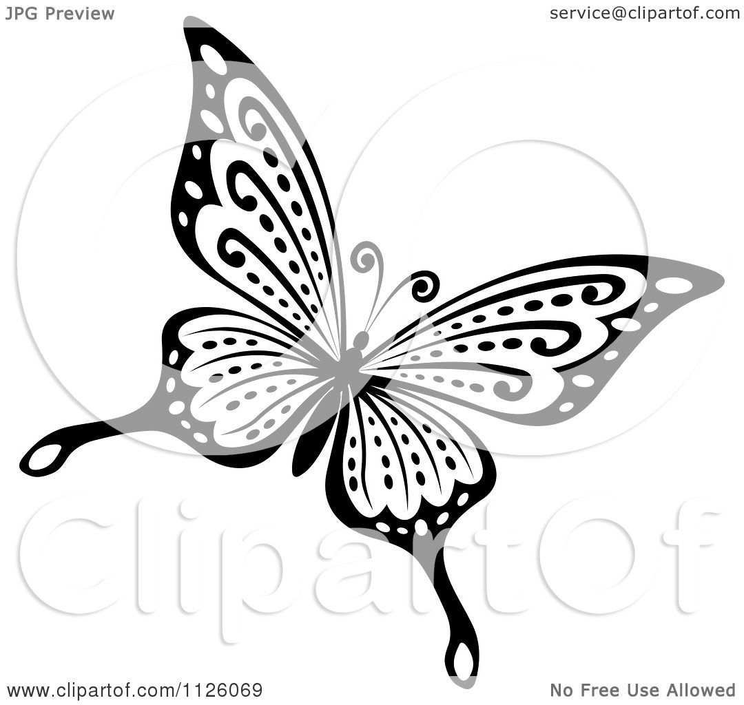 clipart of a black and white butterfly 27 royalty free vector