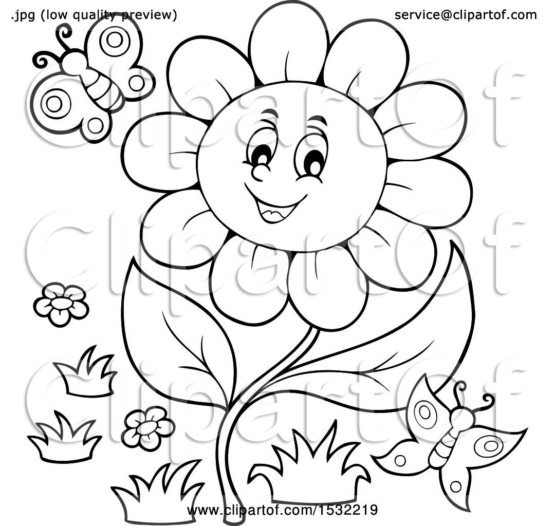 Clipart Of A Black And White Butterfly And Daisy Flower Character