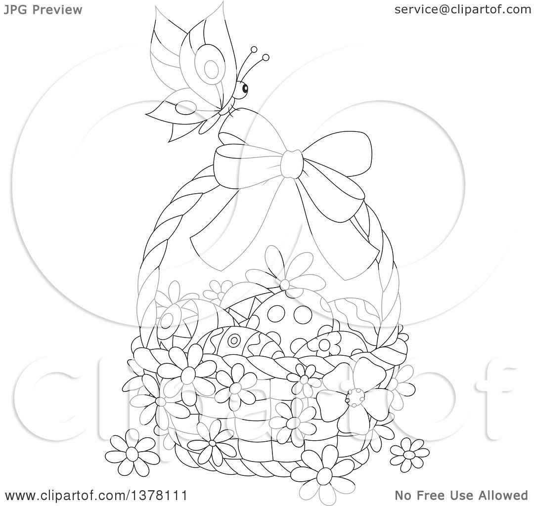 Clipart of a black and white butterfly on a basket of easter eggs clipart of a black and white butterfly on a basket of easter eggs and flowers royalty free vector illustration by alex bannykh mightylinksfo