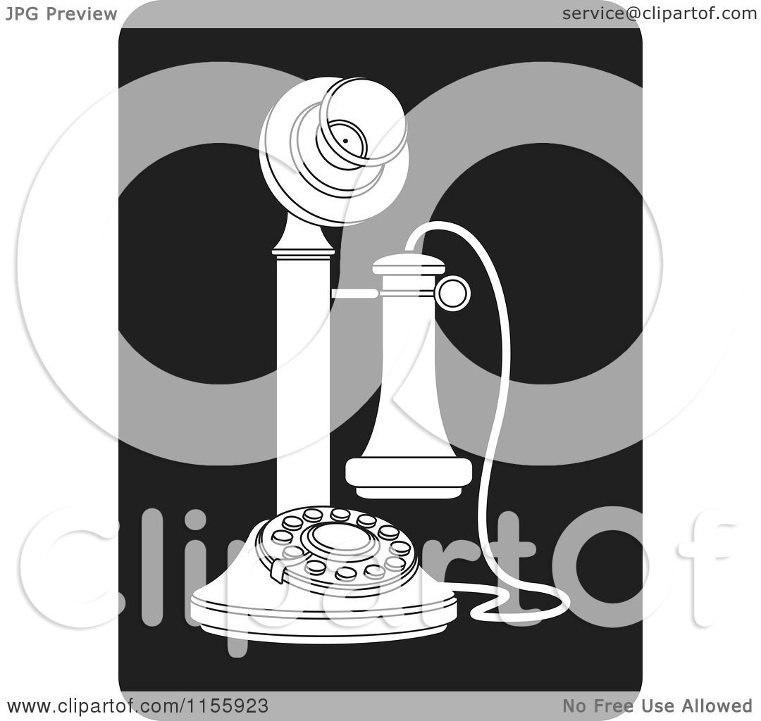 Clipart of a Black and White Candlestick Telephone Icon - Royalty ...