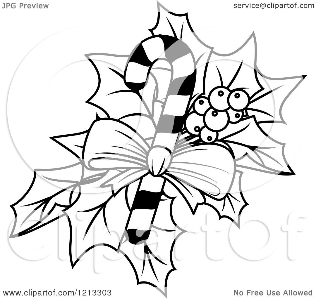 Clipart of a Black and White Candy Cane with Christmas Holly - Royalty Free Vector Illustration ...