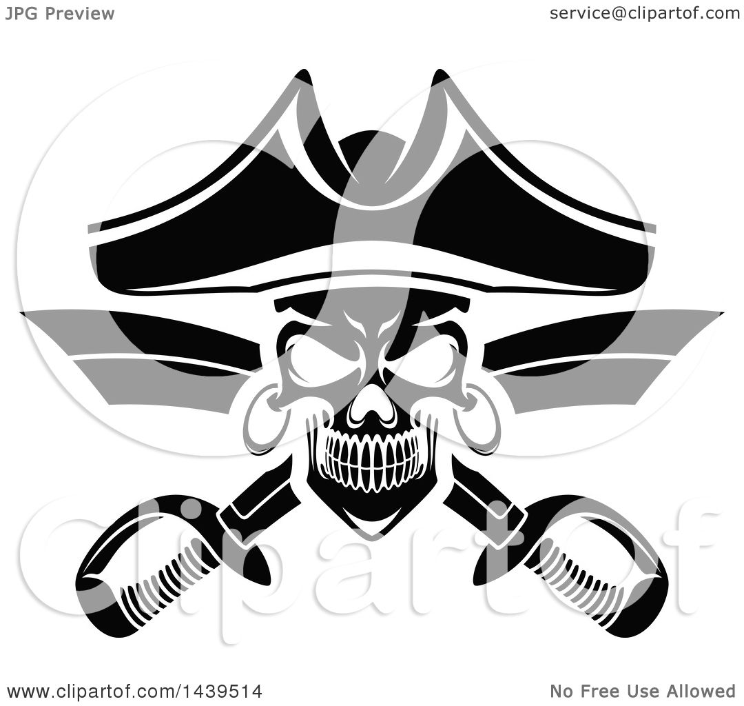 clipart of a black and white captain pirate skull with crossed