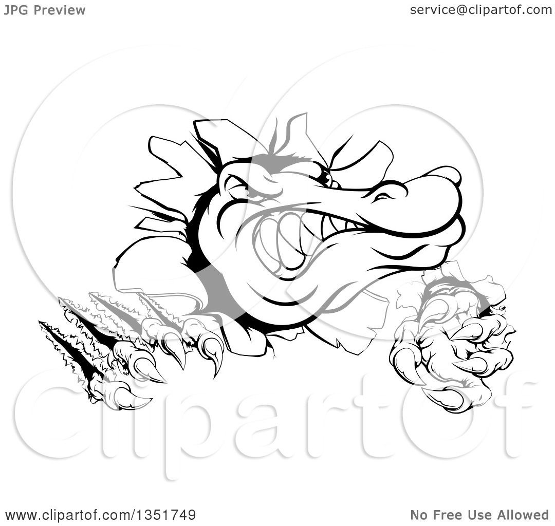 Clipart of a Black and White Cartoon Alligator or Crocodile ... for Clipart Crocodile Black And White  126eri