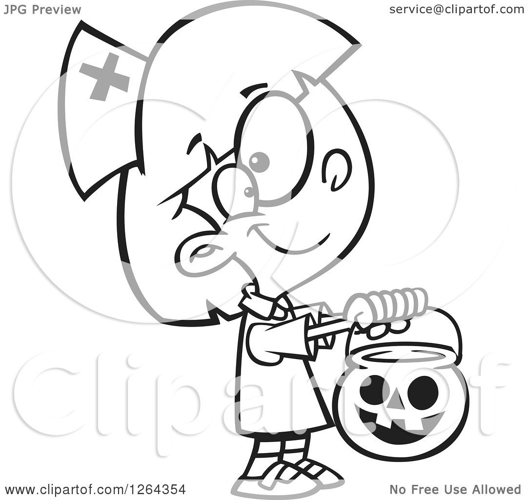 Clipart of a Black and White Cartoon Girl Trick or ...