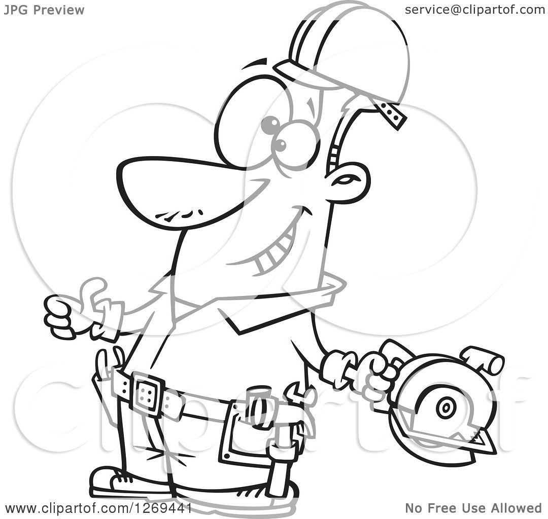 clipart of a black and white cartoon handy man decked out with tools and holding a thumb up royalty free vector line art illustration by toonaday
