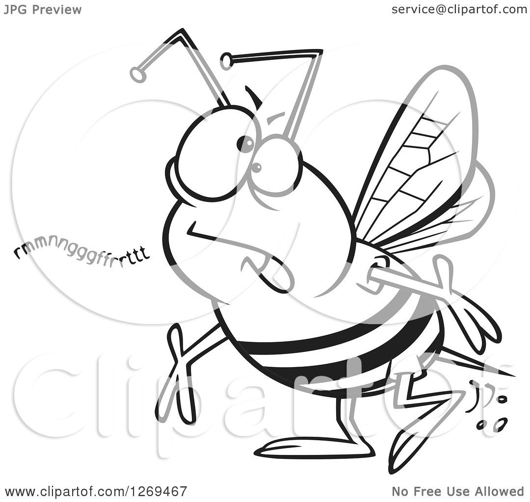 Clipart of a Black and White Cartoon Mumbling Bumble Bee - Royalty ...
