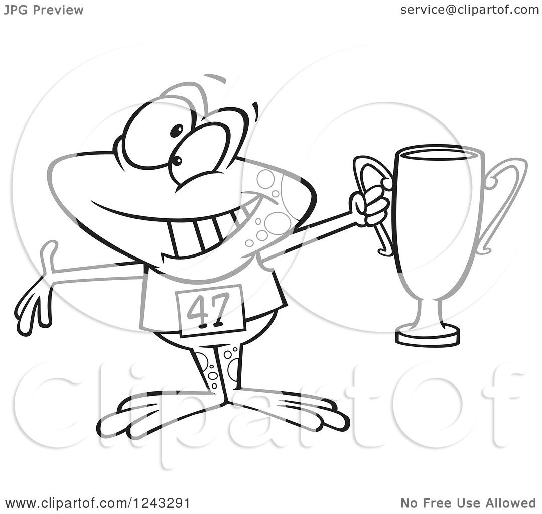 Clipart of a Black and White Cartoon Winner Frog Holding ...