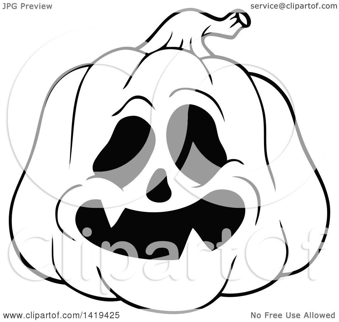Clipart of a Black and White Carved