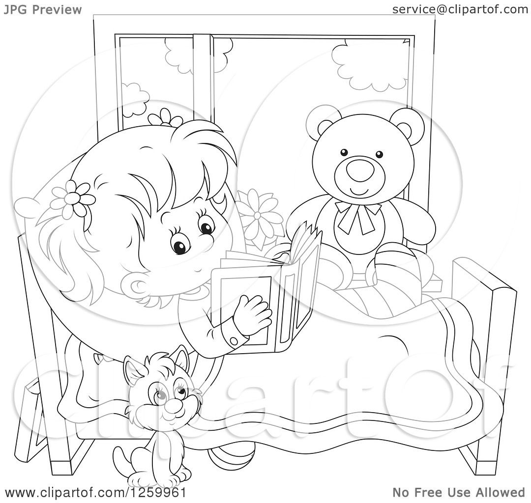 Clipart Of A Black And White Cat By A Girl Reading In Bed -9396