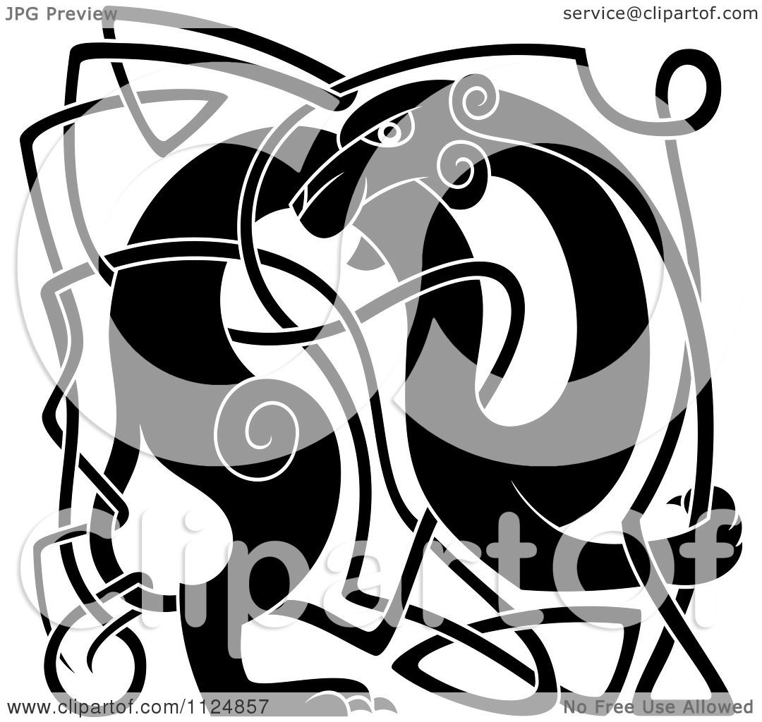 Clipart Of A Black And White Celtic Knot Dog 2 - Royalty Free Vector