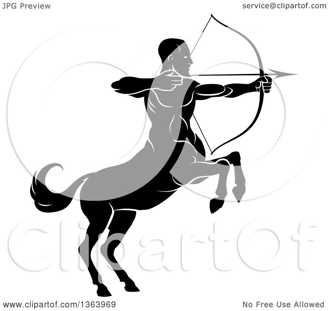 Clipart Of A Black And White Centaur Archer Half Man