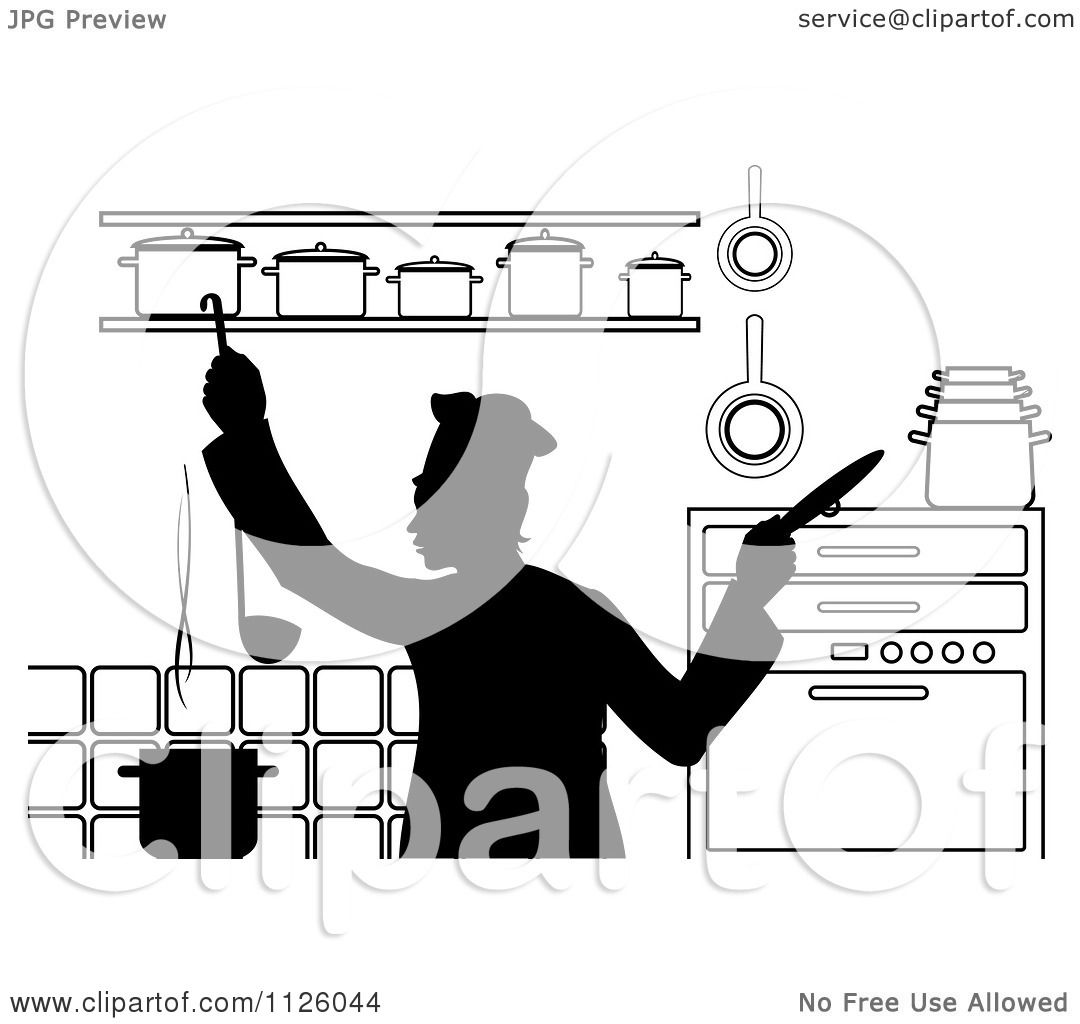 Clipart Of A Black And White Chef Cooking In A Kitchen 2 - Royalty ...