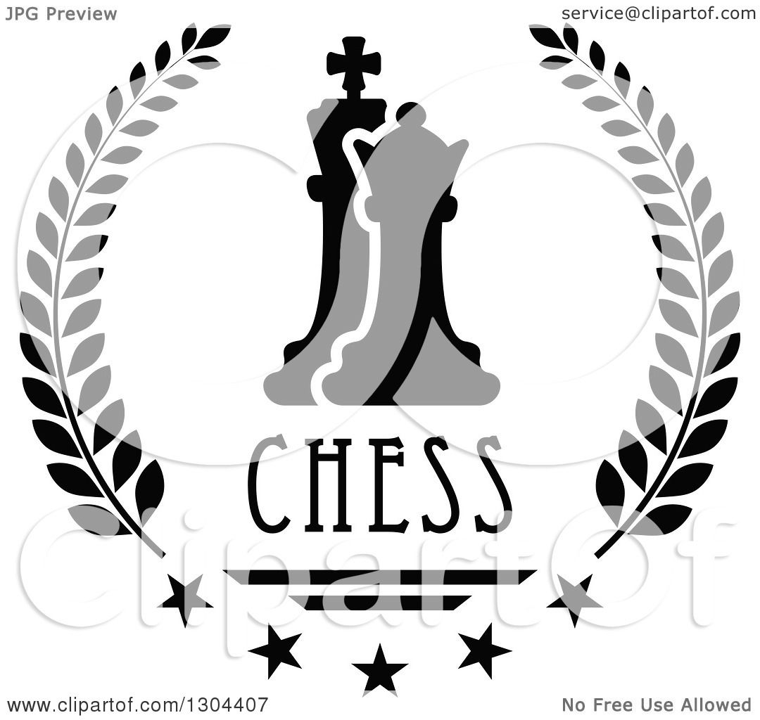 Clipart of a Black and White Chess Pawn and King in a ...