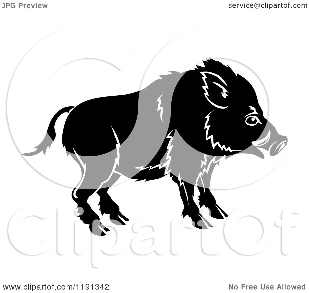 Clipart of a Black and White Chinese