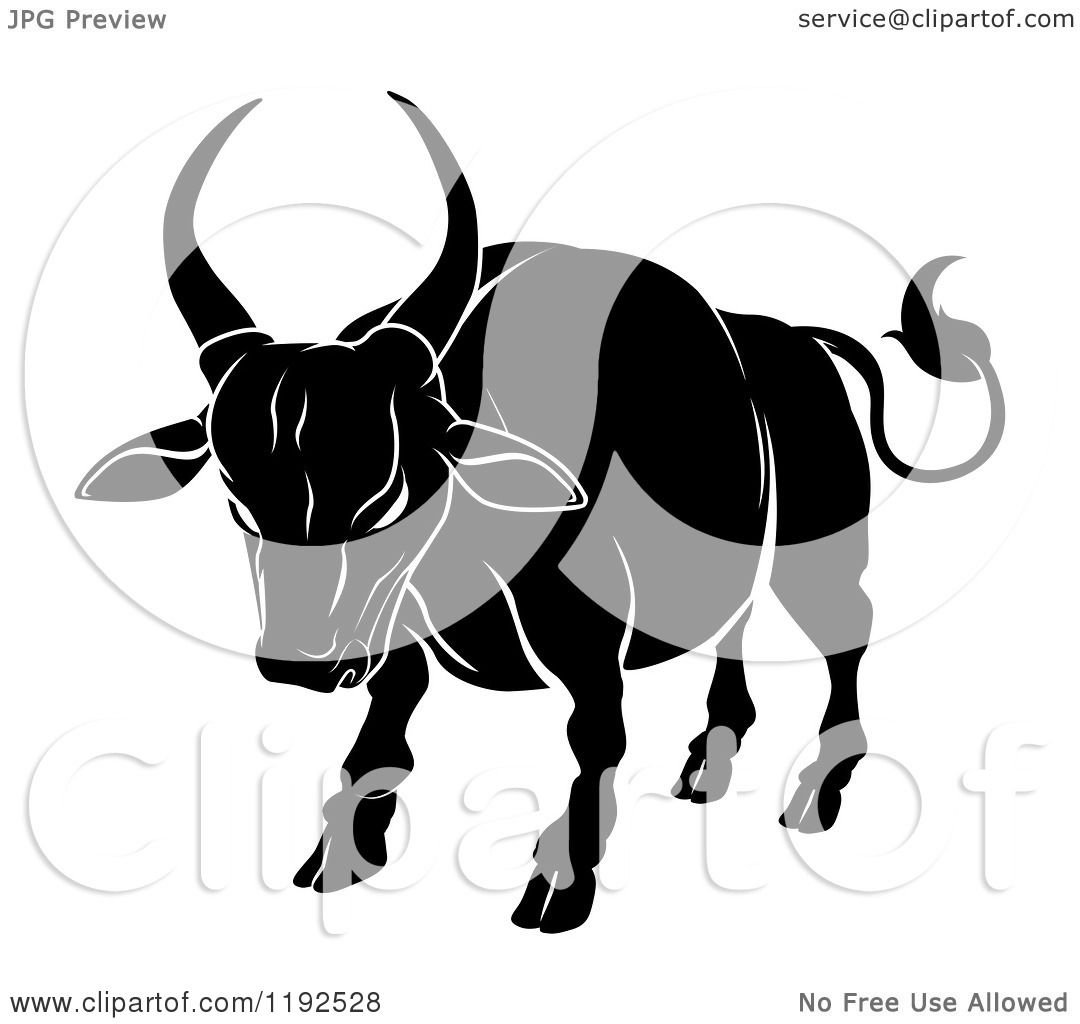 Clipart of a Black and White Chinese Zodiac Ox - Royalty Free ...