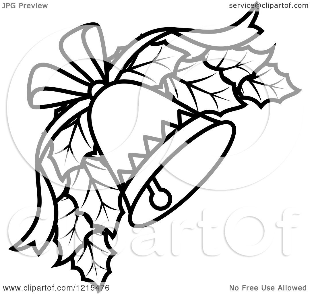Clipart of a Black and White Christmas Bell with Holly - Royalty Free Vector Illustration by ...