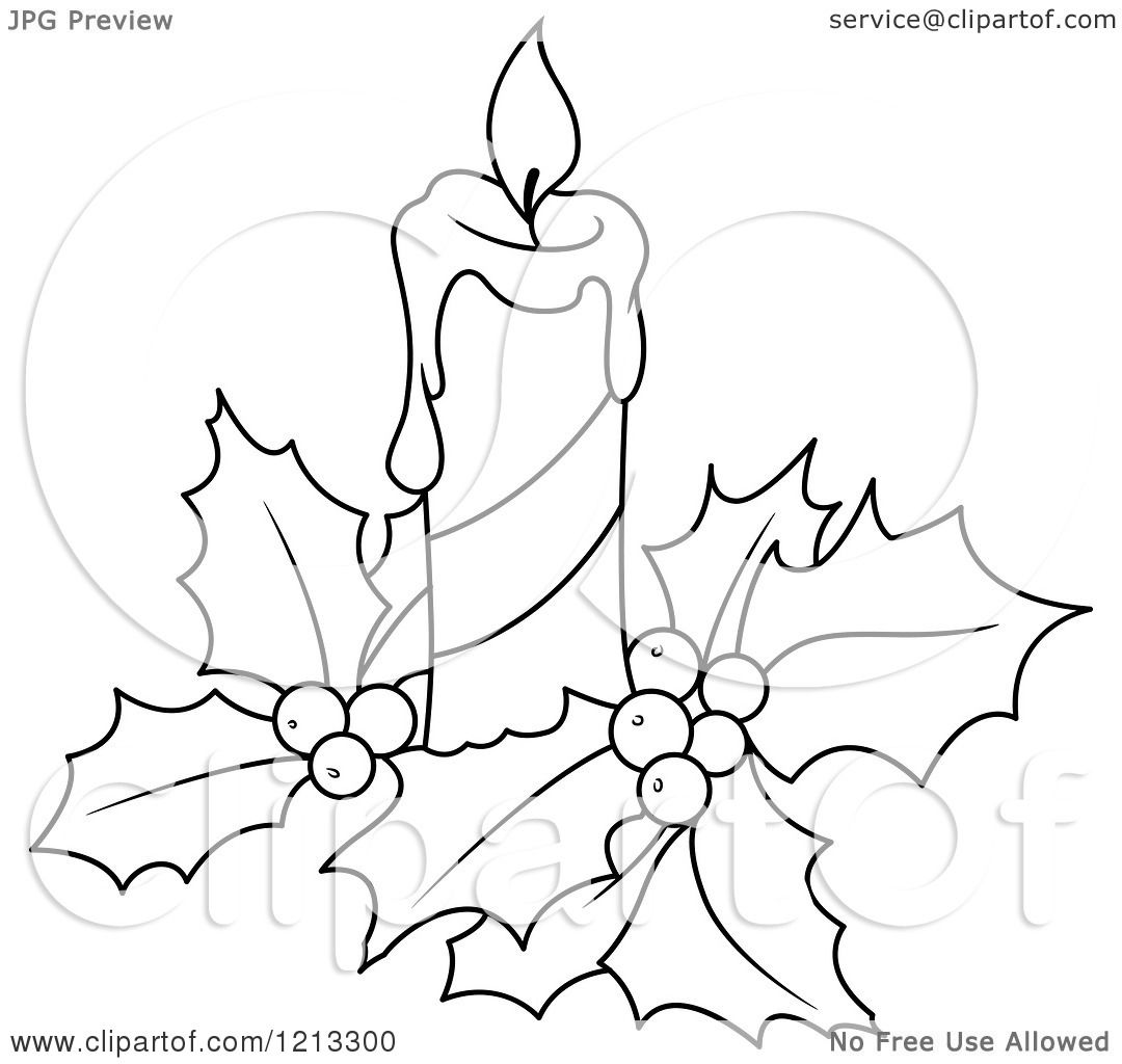 Clipart of a Black and White Christmas Candle and Holly - Royalty Free Vector Illustration by ...