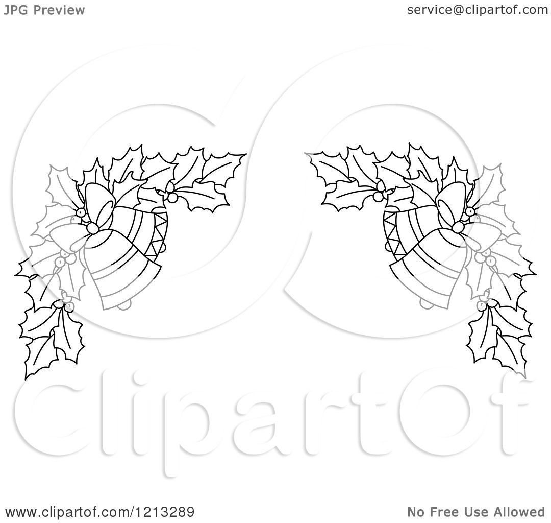 Clipart of a Black and White Christmas Holly and Bells Border 3 - Royalty Free Vector ...
