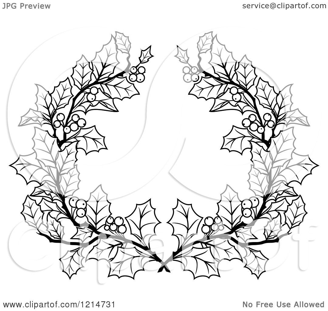 Clipart of a Black and White Christmas Holly Wreath - Royalty Free Vector Illustration by Vector ...