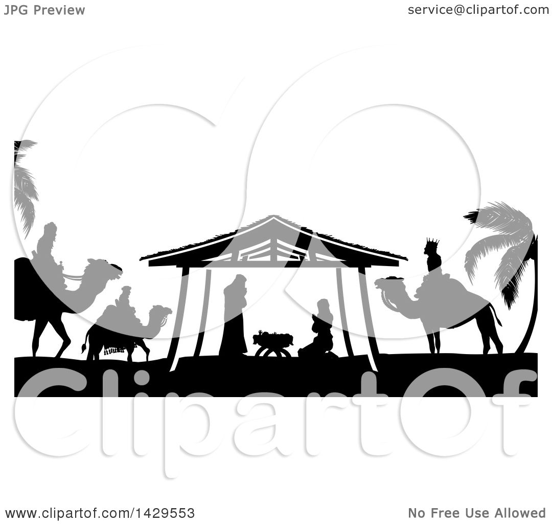 clipart of a black and white christmas nativity scene of baby